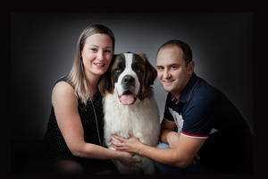 portrait photo adulte couple famille animal